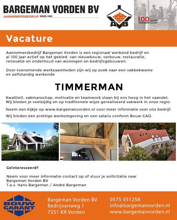 Vacature timmerman - Aannemersbedrijf Bargeman Vorden